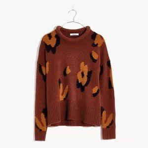 Madewell Leopard Intarsia Fulton Pullover Sweater